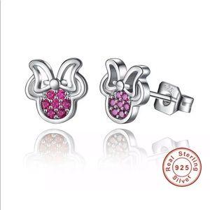 Elegant Solid Sterling Silver Pink Crystal Minnie